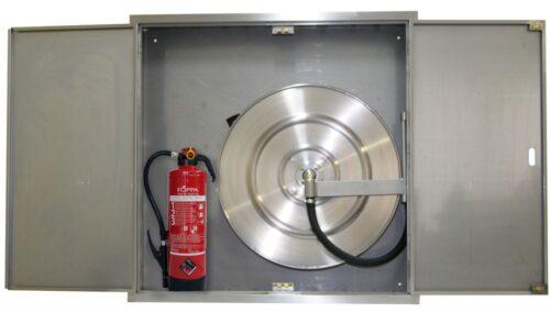 Feuerlöschposten VARIO-PLUS rostfrei mit 20 m Schlauch - AP, Wasserlöschposten