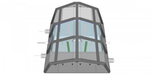 Aufblasbares Dekon-Schnelleinsatzzelt mit 2 Linien, 5 x 5 m